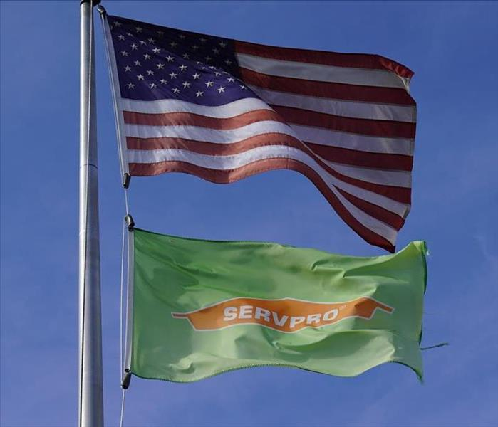SERVPRO flag and AMERICAN flag